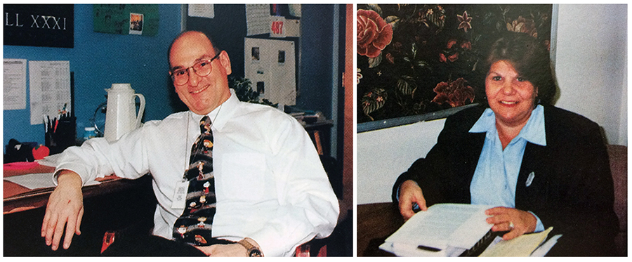 Yearbook portraits of North Springfield Center principals James A. Sebben and Judith Owens. The photographs were taken in 1999 and 2000 respectively. Both are seated in their offices, Sebben at his desk, and Owens at a table looking through paperwork.