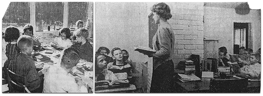 Black and white photographs from the Springfield Independent newspaper from an article entitled Emergency Classroom that was published on December 5, 1956. Students can be seen seated at desks and at a table in the dining room and living room of a rambler-style home. The teacher is standing, holding a book in her hand, and is speaking to the students seated in one of the rooms.