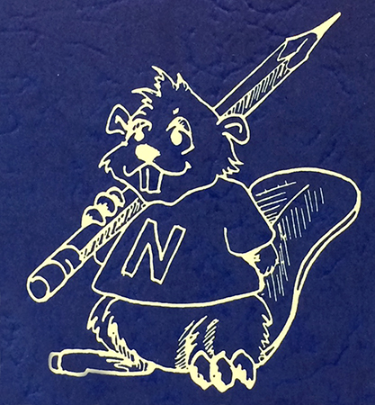 Illustration of North Springfield Elementary School's mascot, a beaver, from the cover of the 1991 to 1992 yearbook. The drawing is in white on a blue background. The beaver is wearing a t-shirt with the letter N on it, and is holding pencil.